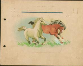1970年代12厘米搪瓷杯图案 手绘设计原稿《双马》