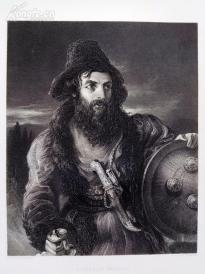 1854年雕塑钢版画《波斯武士》(A PERSIAN WARRIOR)---出自威廉·埃蒂作品,《弗农画廊精选》,34*25厘米--精美,漂亮,高质量