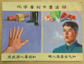文革时期宣传幻灯片 手绘设计原稿 防空化学污染教育图片三幅合售