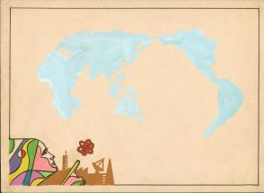 七十年代宣传标语幻灯片手绘设计原稿《世界科技》