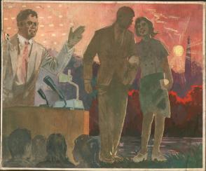 七十年代宣传幻灯片手绘原稿 有保俶塔背景的插图