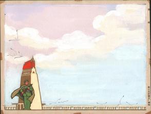 七十年代宣传标语幻灯片手绘设计原稿《保卫南京长江大桥》