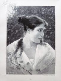 1890年木刻版画《玛格丽塔》(Margherita)---40.5*29厘米--木刻艺术欣赏(8)
