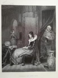 1854年钢版画《佩吉与被戏弄的福斯塔夫》(FALSTAFF AND ANNE PAGE)---《弗农画廊精选》---34*25厘米--精美,漂亮,高质量