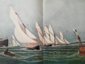 1890年套色木刻版画《帆船赛》(segelregatta)---58*40.5厘米--木刻艺术欣赏(8)