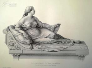 1854年雕塑钢版画《  汤普森夫人》(the monument to mrs thompson)---《弗农画廊精选》,34*25厘米--精美,漂亮,高质量