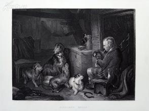 1854年钢版画《苏格兰音乐》(HIGHLAND MUSIC)--出自兰西尔作品----《弗农画廊精选》,34*25厘米--精美,漂亮,高质量