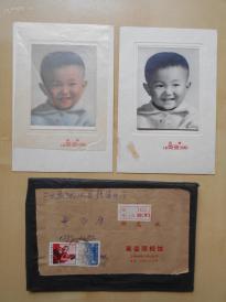 老照片【上海英姿照相儿童照片2张(一张手工上色)】实寄封挂号,贴文革邮票