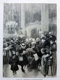 1890年平版印刷《圣沃尔夫冈教堂的圣诞夜》(Weihnachtsmette in der St. Wolfgangs-Kirche)---40.5*29厘米--(20)