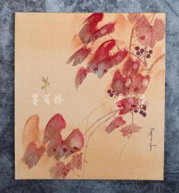 日本绢面卡纸水墨画一件(尺寸26.7*24cm)HXTX67270