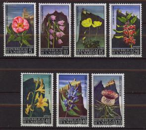 圣马力诺邮票 1967年 世界遗产提塔诺山花卉 7全新