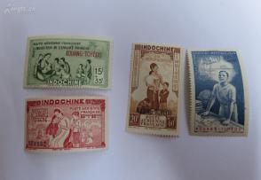 法国在华客邮法广安南妇女儿童图广州湾加盖邮票4全新一套