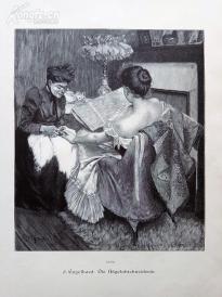 1890年木刻版画《小姐与老佣人》(Die Nagelabschneiderin)---40.5*29厘米--木刻艺术欣赏(7)