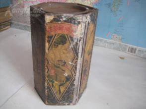 民国开设于山西太原百年茶庄老店---【鸿顺兴茶庄】铁质六角茶叶桶一个,六角精美人物美景,美不胜收。