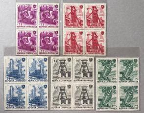 『奥地利邮票』1961年 工业企业国有化15周年 雕刻版 方连 4x5全新 中间横排齿孔有折叠