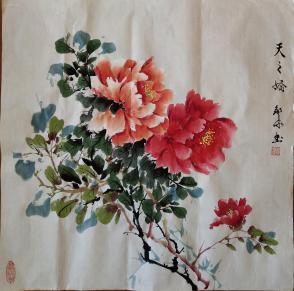 我家老师邹冰以画会友国画牡丹(天之娇)真迹 四尺斗方规格0030