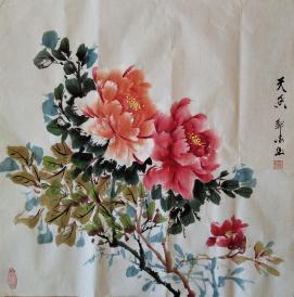 我家老师邹冰以画会友国画牡丹(天香)真迹 四尺斗方规格0031