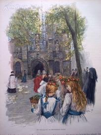 1890年木刻版画《希尔德斯海姆的教堂》(Am Seitenportal des Hildesheimer Domes)---40.5*29厘米--木刻艺术欣赏(7)