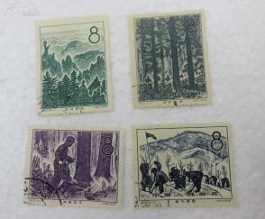 1958年特27 林业建设4枚盖销全套邮票(顺戳)