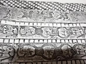 汉代古砖图案   马车人物图    纸的尺寸很大,可以在空白处画画 写字,裱起来非常好看。 此图案少见,古代人的创意设计图案。喜欢的不要错过