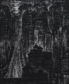著名版画家、北大荒版画开创者和奠基者 杜鸿年 1986年黑白木刻版画作品《古都长河》一幅 原装裱(九十年代在山东省文化馆展出,尺寸59*49cm,钤印:杜鸿年)HXTX105284