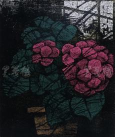 著名版画家、北大荒版画开创者和奠基者 杜鸿年 1986年油印套色版画作品《花》一幅 原装裱(九十年代在山东省文化馆展出,尺寸50*42cm,钤印:杜鸿年)HXTX105291