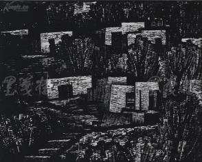 著名版画家、北大荒版画开创者和奠基者 杜鸿年 1985年黑白木刻版画作品《幽居》一幅 原装裱(九十年代在山东省文化馆展出,尺寸48*38cm,钤印:杜鸿年)HXTX105258