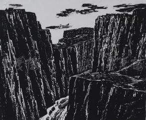 著名版画家、北大荒版画开创者和奠基者 杜鸿年 1982年黑白木刻版画作品《高原行》一幅 原装裱(九十年代在山东省文化馆展出,尺寸39*32cm,钤印:杜鸿年)HXTX105287
