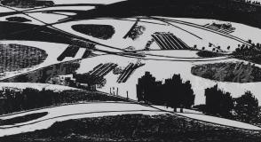 著名版画家、北大荒版画开创者和奠基者 杜鸿年 1985年黑白木刻版画作品《农田》一幅 原装裱(九十年代在山东省文化馆展出,尺寸31*54cm,钤印:杜鸿年)HXTX105288
