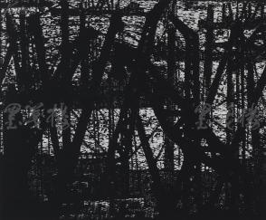 著名版画家、北大荒版画开创者和奠基者 杜鸿年 1985年黑白木刻版画作品《海港印象》一幅 原装裱(九十年代在山东省文化馆展出,尺寸48*40cm,钤印:杜鸿年)HXTX105283
