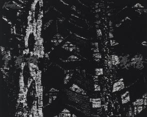 著名版画家、北大荒版画开创者和奠基者 杜鸿年 1987年黑白木刻版画作品《自然的受助》一幅 原装裱(九十年代在山东省文化馆展出,尺寸49*40cm,钤印:杜鸿年) HXTX105279