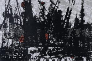 著名版画家、北大荒版画开创者和奠基者 杜鸿年 1985年黑白木刻版画作品《泊》一幅 原装裱(九十年代在山东省文化馆展出,尺寸52*35cm,钤印:杜鸿年) HXTX105278