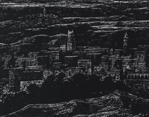 著名版画家、北大荒版画开创者和奠基者 杜鸿年 1986年黑白木刻版画作品《哈尔达雅》一幅 原装裱(九十年代在山东省文化馆展出,尺寸46*37cm,钤印:杜鸿年)HXTX105281