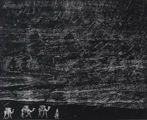 著名版画家、北大荒版画开创者和奠基者 杜鸿年 1986年黑白木刻版画作品《风沙》一幅 原装裱(九十年代在山东省文化馆展出,尺寸47*38cm,钤印:杜鸿年)HXTX105282