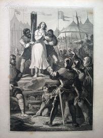 1842年钢版画《圣女贞德》(JOHANNA VON ORLEANS)—图解世界通史--21*14厘米---精美,漂亮,高质量