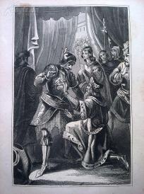 1842年钢版画《腓特烈一世与狮子亨利》(FRIEDRICH BARBAROSSA & HEINROCH D. L?WE)—图解世界通史--21*14厘米---精美,漂亮,高质量
