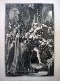 1842年钢版画《西西里晚祷战争的爆发》(SICILIANISCHE VESPER)—图解世界通史--21*14厘米---精美,漂亮,高质量