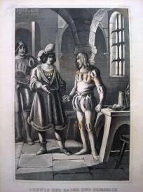 1842年钢版画《路易四世与腓特烈三世》(LUDWIG DER BAIER UND FRIEDRICH VON ?STREICH)—图解世界通史--21*14厘米---精美,漂亮,高质量
