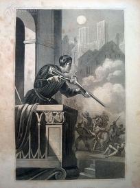 1842年钢版画《圣巴托罗缪之夜》(BARTHOLOMAEUSNACHT)—图解世界通史--21*14厘米---精美,漂亮,高质量