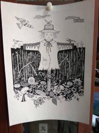 西美原创《稻草人》,每幅唯一,但凡装框,就是装饰精品!有品位,值得收藏!