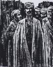 著名版画家、北大荒版画开创者和奠基者 杜鸿年 1985年 黑白木刻版画作品《民族保卫者》一幅 原装裱(九十年代在山东省文化馆展出,尺寸:48*38cm,钤印:杜鸿年) HXTX105303
