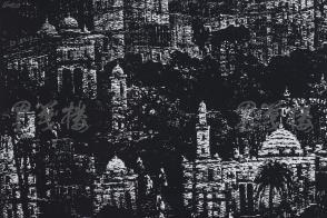 著名版画家、北大荒版画开创者和奠基者 杜鸿年 1986年 黑白木刻版画作品《山坡建筑》一幅 原装裱(九十年代在山东省文化馆展出,尺寸:39*47cm,钤印:杜鸿年) HXTX105306