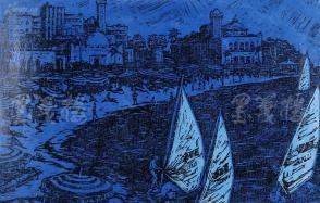 著名版画家、北大荒版画开创者和奠基者 杜鸿年 1984年 油印套色版画作品《海滨浴场》一幅 原装裱(九十年代在山东省文化馆展出,尺寸:32*49cm,钤印:杜鸿年) HXTX105296