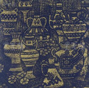 著名版画家、北大荒版画开创者和奠基者 杜鸿年 1985年 油印套色版画作品《静物》一幅 原装裱(九十年代在山东省文化馆展出,尺寸:40*40cm,钤印:杜鸿年) HXTX105295