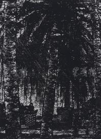 著名版画家、北大荒版画开创者和奠基者 杜鸿年 1991年 黑白木刻版画作品《椰林》一幅 原装裱(九十年代在山东省文化馆展出,尺寸:47*34cm,钤印:杜鸿年)  HXTX105304