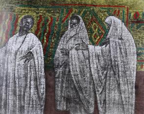 著名版画家、北大荒版画开创者和奠基者 杜鸿年 1986年 油印套色版画作品《节日》一幅 原装裱(九十年代在山东省文化馆展出,尺寸:38*48cm,钤印:杜鸿年) HXTX105298