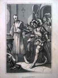 1842年钢版画《华伦斯坦元帅》(WALLENSTEIN)—图解世界通史--21*14厘米---精美,漂亮,高质量