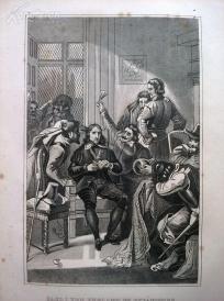 1842年钢版画《英格兰查理一世被新军投入监狱》(CARL I VON ENGLAND IM GEF?NGNISS)—图解世界通史--21*14厘米---精美,漂亮,高质量