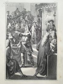 1842年钢版画《路易十四在议会》(LUDWIG XIV IM PARLAMENT)—图解世界通史--21*14厘米---精美,漂亮,高质量