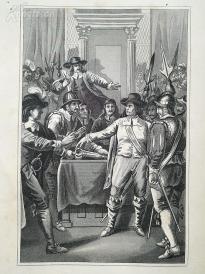 1842年钢版画《克伦威尔在议会》(CROMWELL IM PARLAMENT)—图解世界通史--21*14厘米---精美,漂亮,高质量